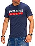 JACK & JONES Herren T-Shirt Kurzarmshirt Top Print Shirt Casual Basic O-Neck (Small, Total Eclipse)
