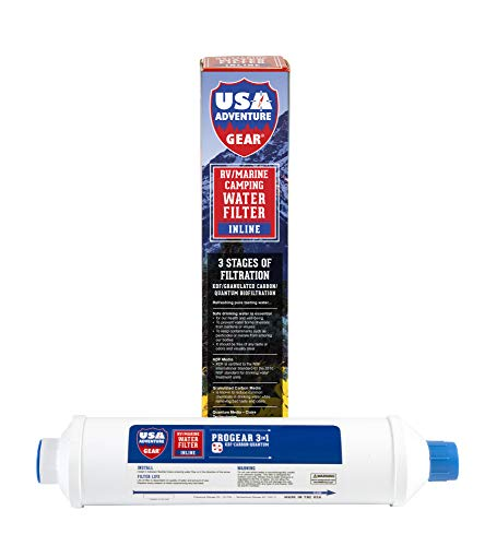 3-Stage RV/Marine XXL Inline Water Filter | KDF/GAC/Quantum BioFiltration | Removes Bacteria, Viruses On Contact | Last 4X Longer | Filters Chemicals, Insecticides, Chlorine, Lead | Made in The USA |