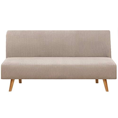 JBNJV Funda de sofá elástica sin Brazos, 1 Pieza, Funda de sofá Cama, Funda de sofá, Funda de sofá Lavable, Protector de Muebles con Fondo elástico para Sala de Estar, Color Caqui, 3 Asientos