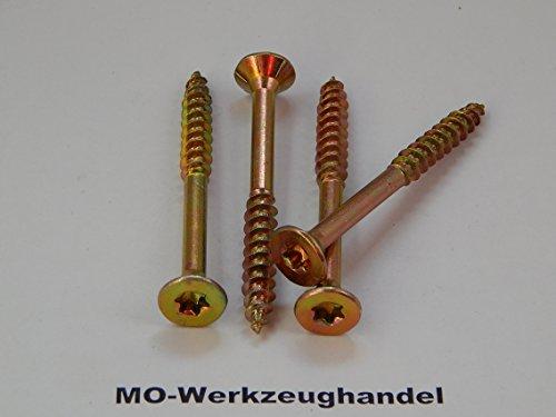 100 Stück TORX Spanplattenschrauben 6,0x200 mm Senkkopf, TX Holzschrauben Holz-Schrauben, gelb verzinkt,