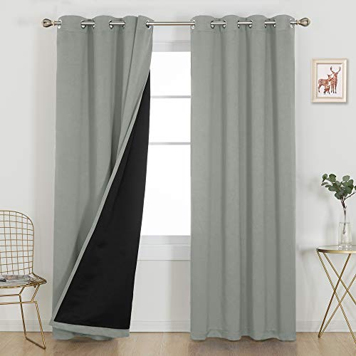 Deconovo 100% Blackout Curtains Livingroom Bedroom Nursery Thermal Insulated and Noise Reduction Window 2 Panel Set Grommets Draperies with Black Liner Extra Wide, 2 Pieces, Each 52x95 in, Light Grey