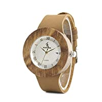 QTMIAO ファッション時計 BOBO BIRD美しい時計 木製テーブル竹ウッドレザーベルト日本製ムーブメント腕時計 (Color : 2)