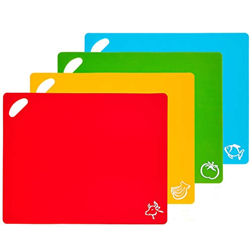WEZVIX Flexible Plastic Cutting Board Mats with Holes & Food Icons for Hanging, Colored Food Cutting Mat for Kitchen Dishwasher Safe Set of 4