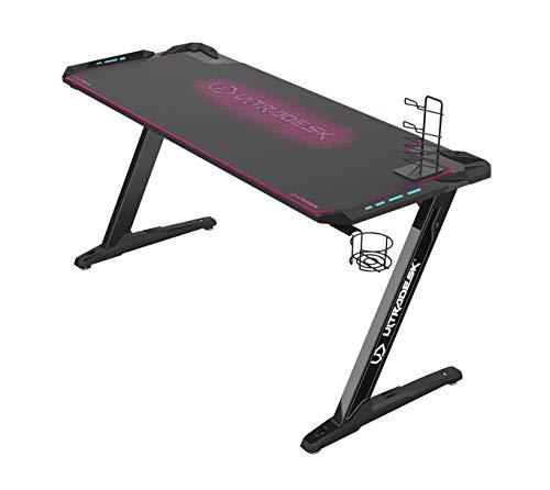 Ultradesk Space XXL Pink - Gaming Tisch, Computertisch, großer Schreibtisch mit LED RGB