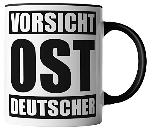 vanVerden Tasse - Vorsicht OST Deutscher - beidseitig Bedruckt - Geschenk Idee Kaffeetassen, Tassenfarbe:Weiß/Schwarz