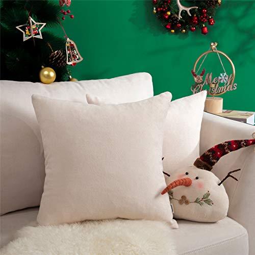 Topfinel juego 2 Fundas cojines sofas de Algodón Lino duradero Almohadas Decorativa de color sólido Para Sala de Estar, sofás, camas, sillas 50x50cm Beige