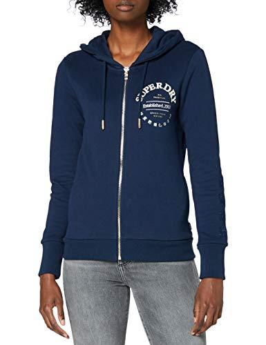 Superdry Damen Applique Serif Ziphood Kapuzenpullover, Blau (Richest Navy ZRN), S (Herstellergröße:10)