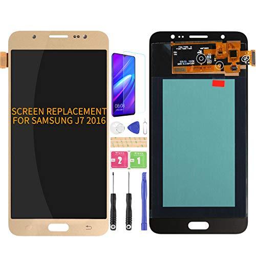 Para Samsung Galaxy J7 2016 J710 J710F J710M/H Pantalla LCD de Reemplazo de Digitalizador de Vidrio Kits de Montaje de Cristal, Película Templada Gratis, Pegamento y Herramientas (Oro)