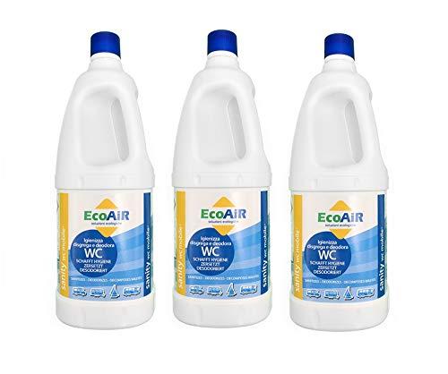 Prime 3 Pezzi - Bottiglia da 2 Litri DISGREGANTE WC Sanity Mobile - Liquido per Serbatoio ACQUE Nere WC Toilette Camper - COMPARABILE DISGREGANTE Aqua KEM - Made Italy