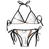 Bates de béisbol Bikini de triángulo Sexy para Mujer Traje de baño de Bikini Lateral con Lazo de triángulo Ajustable Traje de baño de Playa Negro de poliéster de 2 Piezas