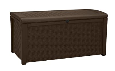 Keter Borneo 110 Gallon Resin Deck Box-Organization and Storage for Patio Furniture Outdoor Cushions, Throw Pillows, Garden Tools and Pool Toys, Brown
