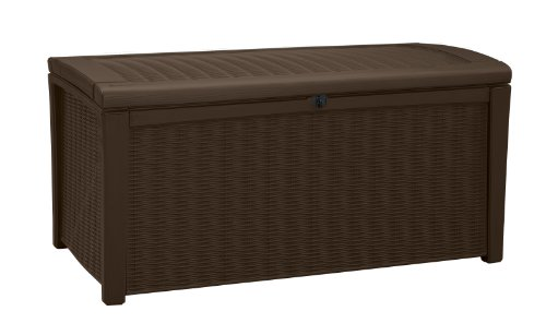 Keter Borneo 110 Gallon Resin Outdoor Storage Bench and Deck Box for Patio Furniture, Brown