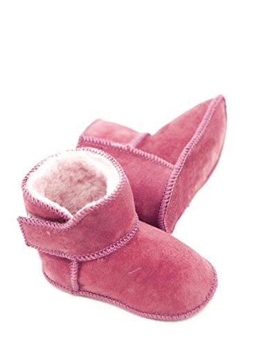 DX-Exclusive Wear Lammfellschuhe Babyschuhe, Stiefel, Klettverschluss, Echt Fell Schuhe Krabeln, Hausschuhe Baby ADB-0002 Madchen, Jungen, Leder (22/23, pink)