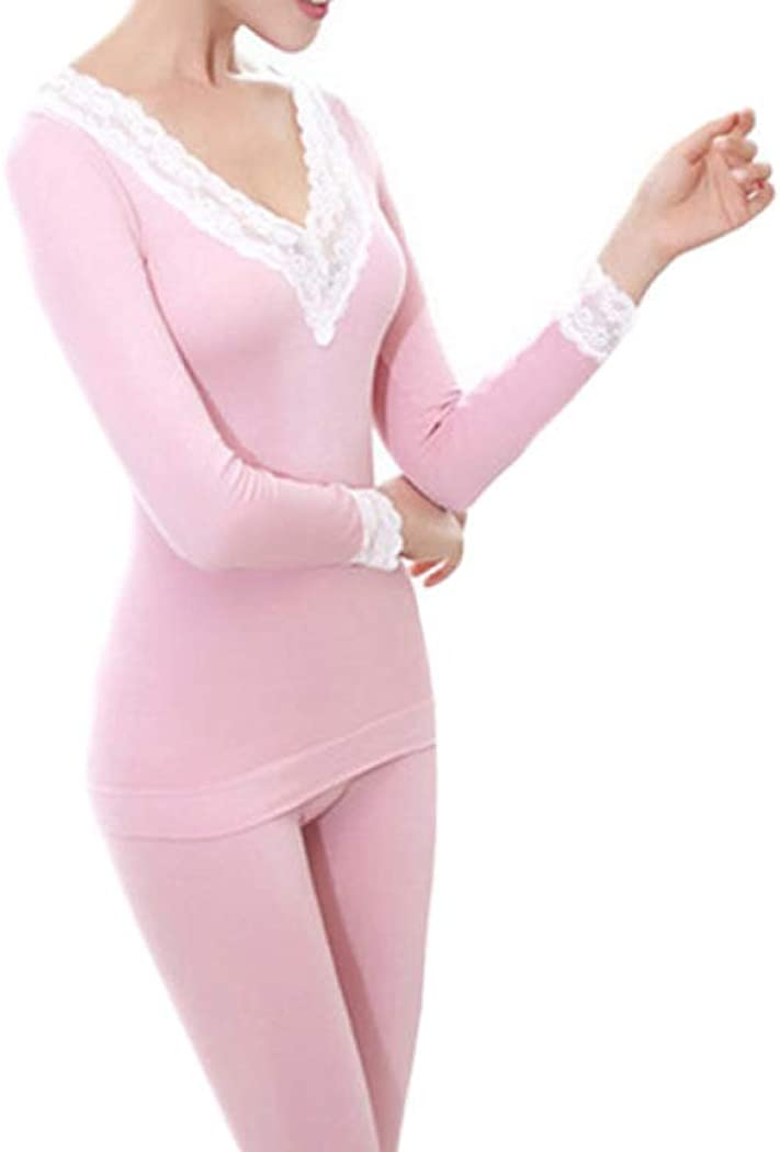 Thermal Underwear for Women Hollow Lace Thermal Winter Warm Thicken Suits V-Neck Long Johns Sets