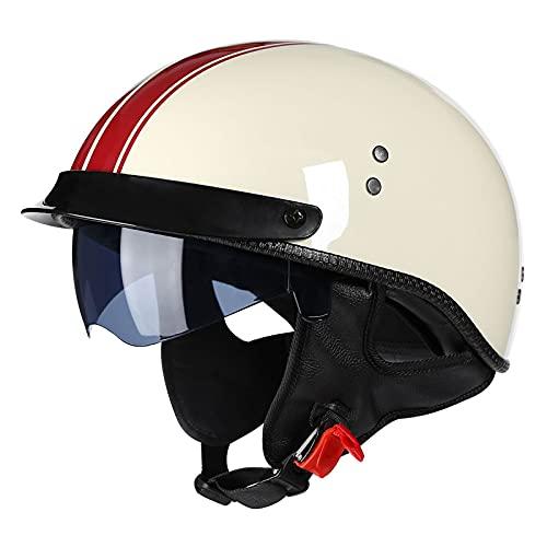 Casco per moto aperto a faccia aperta, moto Jet Crash Chopper, ciclomotore Cruiser Vintage Scooter Touring Pilot Biker ATV Casco con visiera parasole e sciarpa staccabile per uomini donne giovani (L)