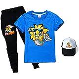 Fun Squad - Juego de camiseta + pantalones+sombrero de sol, unisex a la moda, divertido escuadrón para niños y niñas, azul, 140