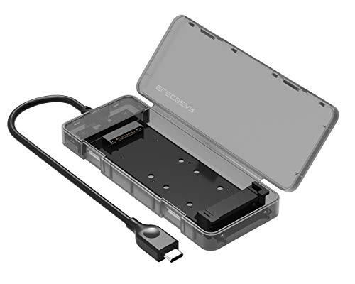 SATA M.2 SSD USB 3.1 Gen2 Disk Enclosure with USB Type C Plug, NG-2575C Portable NGFF External Adapter, M2 SSD Case Memory Card Reader, Hard Drive Memory Extension Converter Caddy Box, Tool-Free
