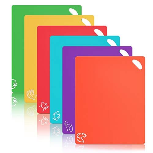 Alliebe 6 Pack Flexible de plástico Tablas de Cortar Junta de Corte Alfombrillas de Color esteras con Iconos de Alimentos BPA-Libre de Agarre no poroso Agarre hacia atrás y lavavajillas Seguro
