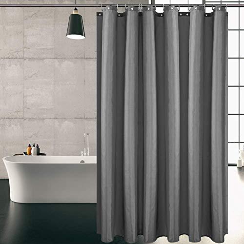 KIPIDA Duschvorhang Textil, Anti-Schimmel, Wasserdichter, Waschbar Anti-Bakteriell Stoff Polyester Badewanne Vorhang mit 8 Duschvorhängeringen, 180x200cm, Dunkelgrau