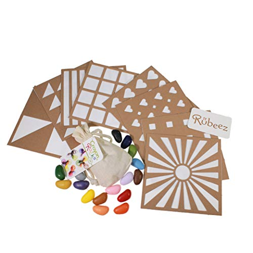 Crayon Rocks, Art Coloring Set, Arts & Crafts for Kids Ages 3 and Up - Includes 8 Eco-Board Templates, 16 Crayons