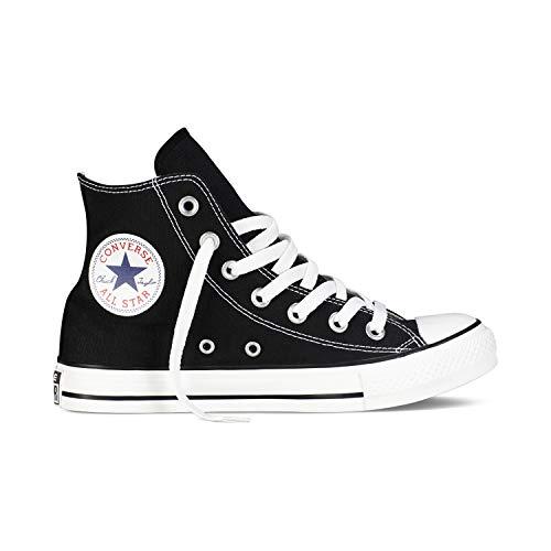 Converse Chuck Taylor All Star High Classic CTAS Hi - Zapatillas altas de lona, unisex, con pegatina de 7 km/h, color Negro, talla 35 EU