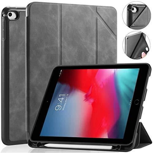 Caja Protectora de la Tableta for iPad Mini 5/4 Ver Serie Funda de Cuero Horizontal Flip con Titular y Titular de la Pluma (Color : Grey)