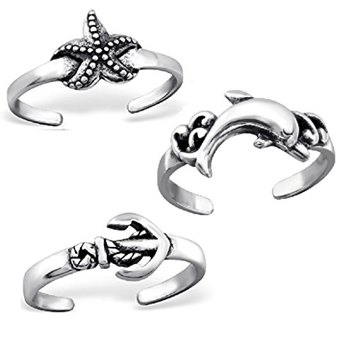 ICYROSE 925 Sterling Silver Set of 3 Starfish, Anchor, Dolphin Adjustable Toe Ring or Above Knuckle Ring Mid Finger