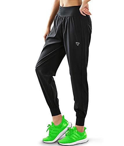 【Monlyu】 ヨガウェア レディース ヨガパンツ ランニング ジム ウェア トレーニング パンツ エクササイズ スポーツウェア 薄い 軽い ( 速乾 美脚 体型カバー ) (L, ブラック)