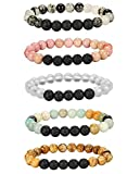 Besteel 5-10 Pcs Pulseiras difusoras de óleo de aromaterapia para mulheres Conjunto de pulseira de pedra de lava 8 MM
