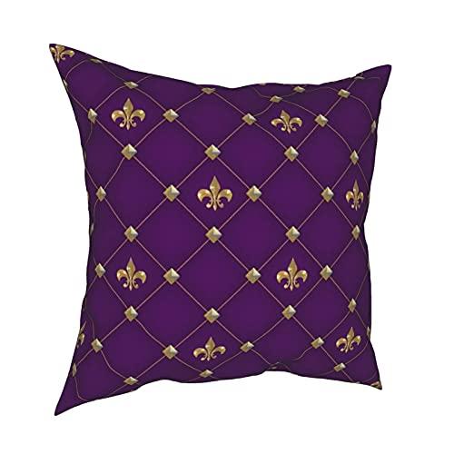 Reebos Fundas de almohada, diseño vintage de flor de lis en color morado oscuro oscuro oscuro para el hogar, fundas de cojín cuadradas para sofá, sala de estar, cama de 45,7 x 45,7 cm