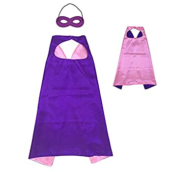 Reversible Kids Superhero Cape with Felt Mask Set for Boys Girls Dress up Costumes Halloween Birthday Party Favors Purple and Pink - 27.5