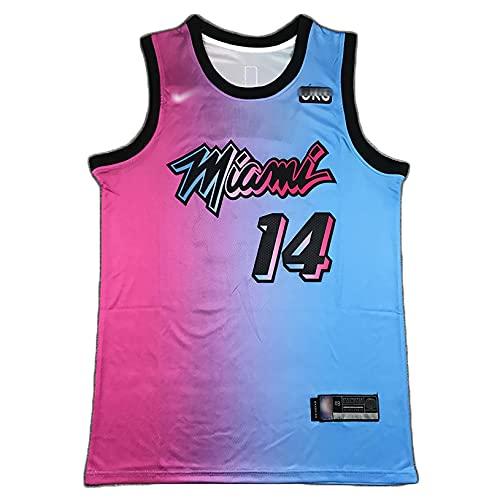 BCVDF Camiseta de los Deportes de Miami del Jersey del Juego de Entrenamiento del Jersey de Baloncesto, Chaleco Deportivo de Secado rápido XL 14#