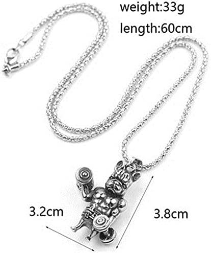 KANTAN88-2PCS Cute French Bulldog Necklace Dog Pendant Necklace Jewelry for Men Weight Lifter/Bodybuilder Animal Pendant Necklace (Sliver)