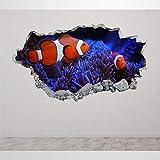 Mural de pared en 3D con diseo de pez payaso en el ocano 3D para pared creativo, extrable en vinilo para dormitorio, sala de juegos, cuarto de juegos, guardera, oficina tienda