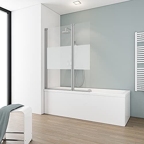 Schulte 103,5 x 130 cm Mampara ducha para bañera, 2 hojas plegables,...