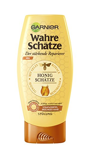 GARNIER Wahre Schätze Spülung / Conditioner für intensive Haarpflege / Kräftigt die Haarstruktur (mit Gelée Royale, Bienenbalsam & Honig - für strapaziertes, brüchiges Haar - ohne Parabene) 1 x 200ml