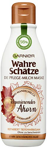 Garnier Wahre Schätze Pflege-Milch Maske Reparierender Ahorn, Pflegende Haarmaske mit Mandelmilch und Ahornsirup, 250 ml