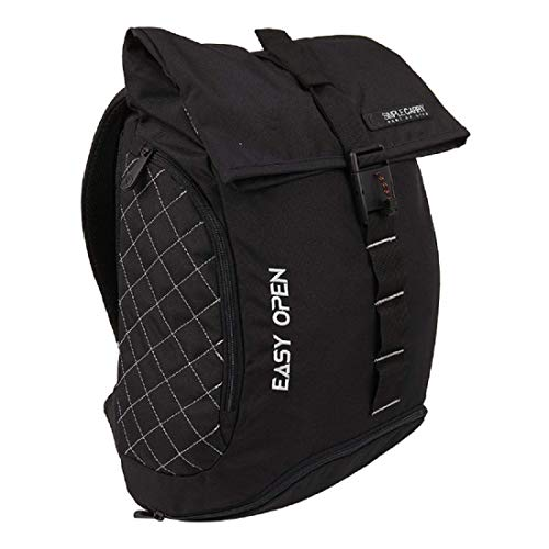 """SIMPLECARRY Easy Open Backpack – 16"""" Outdoor Backpack for Hiking, Travel, Camping Overnight – Water Resistant, Lightweight Medium-Sized Daypack for Men and Women (Black)"""