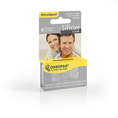 Ohropax Ohrstöpsel SILICON CLEAR - Wasserfeste Vor-Ohr-Stöpsel aus hautfreundlichem Silikon - Zum Schutz vor Wasser beim Schwimmen, vor Lärm und Wind - 6 Stück