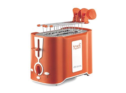 Ariete 124 Tostì - Tostapane 2 fette, Pinze acciaio inox, Vassoio raccoglibriciole removibile, Funzione scongelamento, 6 livelli di doratura, 500W, Nero