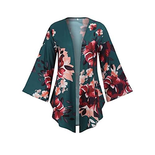 YXDS Abrigo de Mujer Casual Suelto de Longitud Media Estampados Florales Manga Larga Cárdigan de Mujer Abrigo de Estilo Simple de Todo fósforo