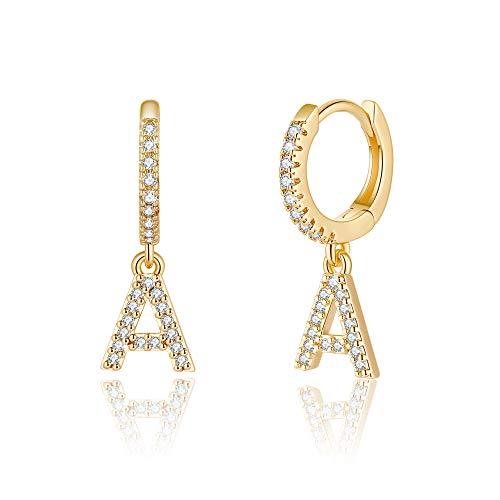 Initial Earrings for Girls Kids, 925 Sterling Silver Post 14K Gold Plated Small Huggie Hoop Earrings Letter A Initial Dangle Earrings Hypoallergenic Earrings for Women Toddler Girl Teen Jewelry Gifts