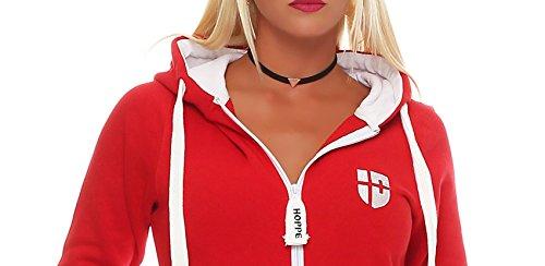 Hoppe Damen Jumpsuit Jogger Einteiler Jogging Anzug Trainingsanzug Overall (XL, Rot) - 4