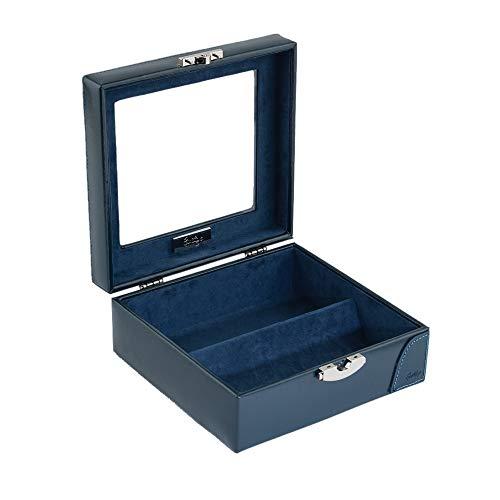 CORDAYS - Joyero Hecho a Mano con Piel Estuche Expositor con Vitrina de Cristal para Gafas, Joyas y Accesorios. Color Azul CDM-80004
