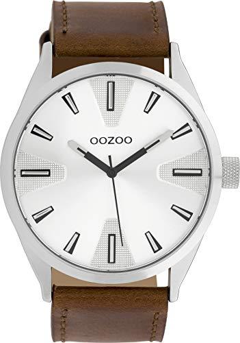 Oozoo Herrenuhr mit Lederband 45 MM Silberfarben/Braun C10020