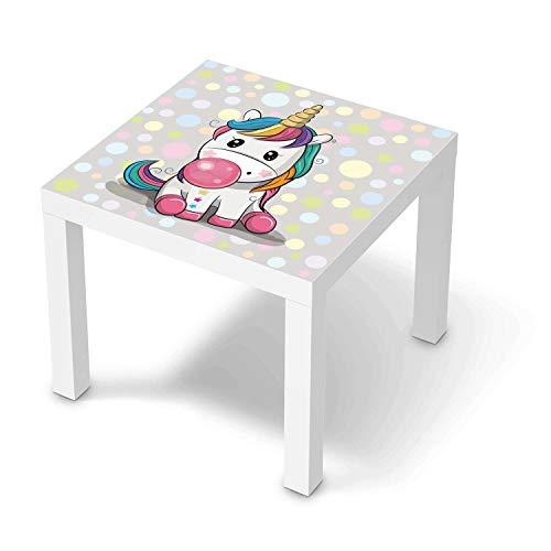 creatisto Möbeltattoo für Kinder - passend für IKEA Lack Tisch 55x55 cm I Tolle Möbeldekoration für Baby-Zimmer Deko I Design: Rainbow das Einhorn