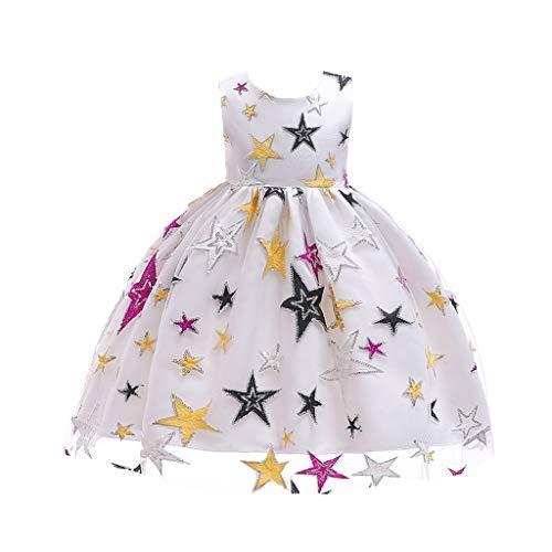 IZHH Kinder Kleider, Mädchen Sterne Gestickte Prinzessin Kleid Stern Print Spitzenkleid Kinder Mädchen Prinzessin Kostüme Party Tutu Bogen Kleider(Weiß,120)