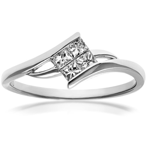 Naava Women's 18 ct White Gold Solitaire Look Crossover Engagement Ring, IJ/I Certified Diamonds, Princess Cut, 0.25ct Size : N