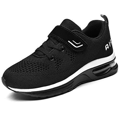QAUPPE Boys Girls Athletic Shoes Kids Tennis Sports Gym Running Sneakers Black