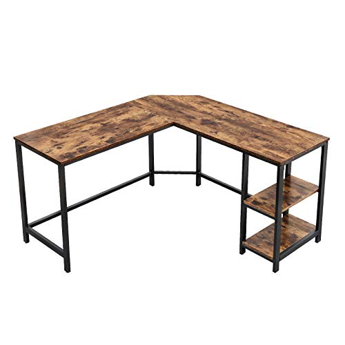 VASAGLE L-Shaped Computer Desk, Corner Desk, 54-Inch Writing Study Workstation Rustic Brown ULWD72X​